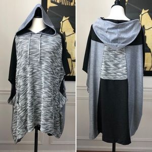 Intimately Free People Hooded Colorblock Poncho M